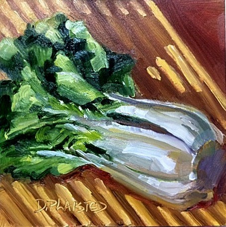 """Chopping Block Choy"" original fine art by Diane Plaisted"