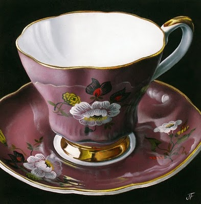 """Teacup Study:  My Mother's Collection I"" original fine art by Jelaine Faunce"