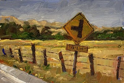 """Sign out on Buckley Road"" original fine art by Raymond Logan"