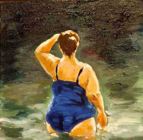 """Swimming,M26"" original fine art by Run-      Zhang Zane"