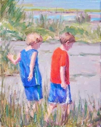 """Island Treck,figures,oil on canvas,10x8,price$700"" original fine art by Joy Olney"