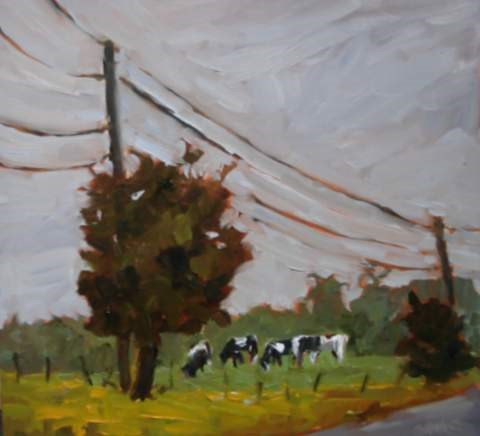 """Buttercups and Cows"" original fine art by Claudia L Brookes"