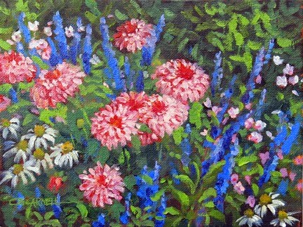 """""""'Flowers at Edgartown' An Original Oil Painting by Claire Beadon Carnell 30 Paintings in 30 Days Cha"""" original fine art by Claire Beadon Carnell"""