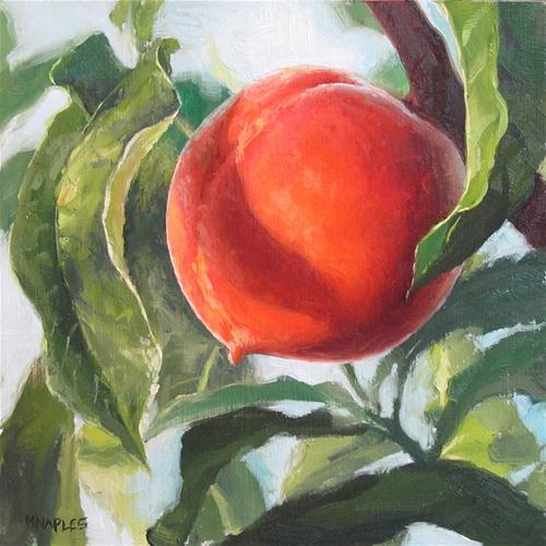 """Peach in a Peach Tree"" original fine art by Michael Naples"