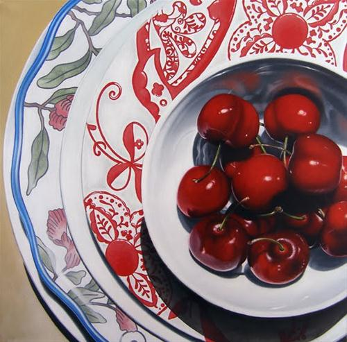 """Cherries I"" original fine art by Jelaine Faunce"