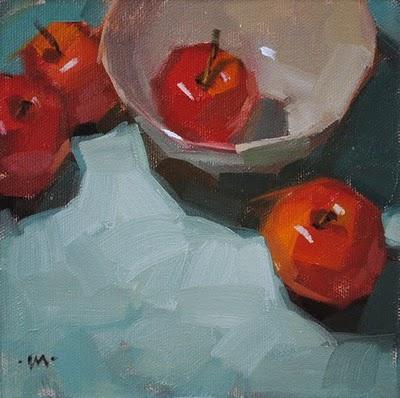 """Start with Apples"" original fine art by Carol Marine"