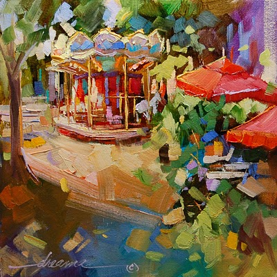 """A Very Merry-Go-Round in France"" original fine art by Dreama Tolle Perry"