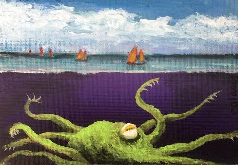 """Green Kraken"" original fine art by christina glaser"