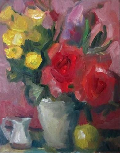 """Pink Rose, Gray Vase II"" original fine art by Carol Steinberg"