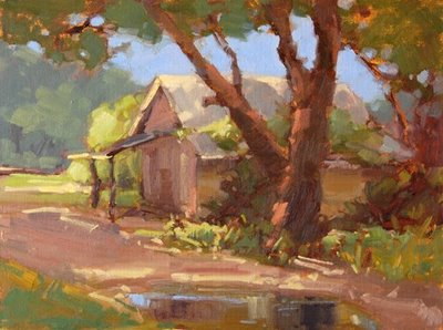"""Cabin at Taylor Fish Camp"" original fine art by Laurel Daniel"