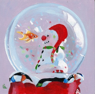"""snowglobe acrylic painting and Name this Painting"" original fine art by Ria Hills"