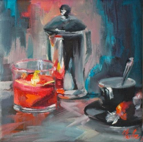 """""""Café à la bougie"""" original fine art by Evelyne Heimburger Evhe"""