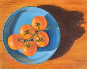 """Orange Tomatoes on a Blue Plate"" original fine art by Robert Frankis"
