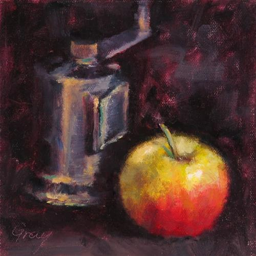 """Apple and Pepper Grinder"" original fine art by Naomi Gray"
