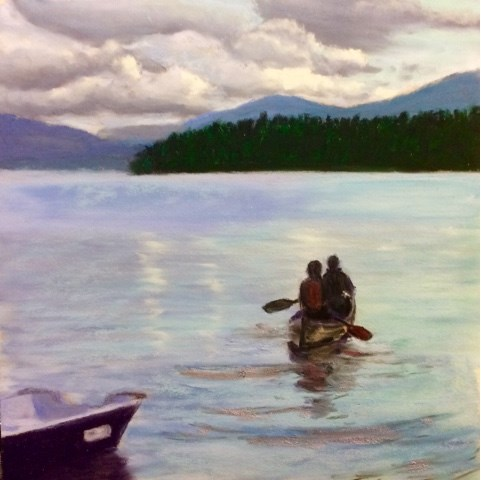 """CANOEING TO SUNSET"" original fine art by Marti Walker"