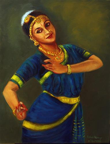 """Indian Bharathanatyam Dancer1"" original fine art by Asha Shenoy S"