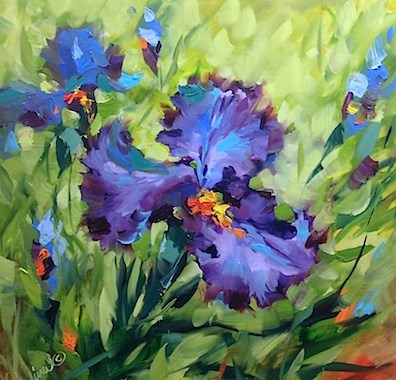 """A Video of Signs of Spring Blue Irises and the Truth Behind What Goes on in Flower Mound Studio - Fl"" original fine art by Nancy Medina"
