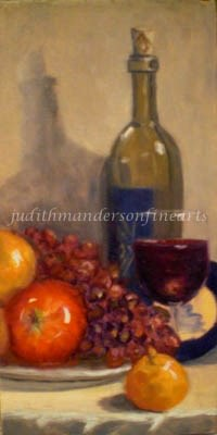 """Wine and Brie"" original fine art by Judith Anderson"