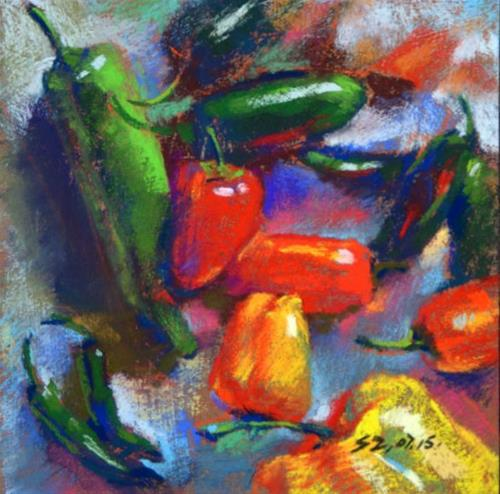 """Jalapelo And the Friends"" original fine art by Sabrina Zhou"