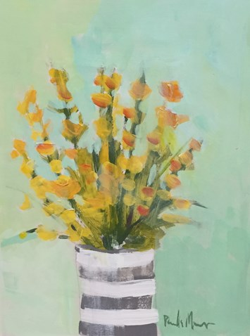 """Yellow in Striped Vase"" original fine art by Pamela Munger"
