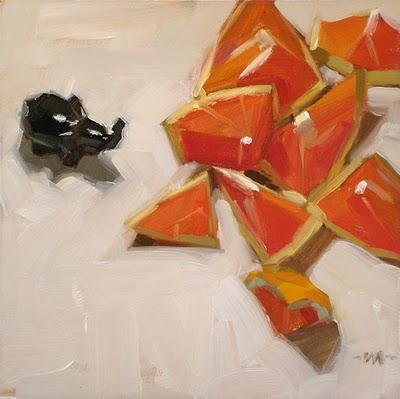 """Elephant Herds Orange"" original fine art by Carol Marine"