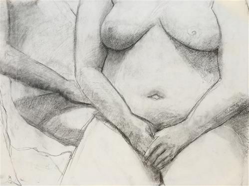 """Two Women"" original fine art by Nava Judith"