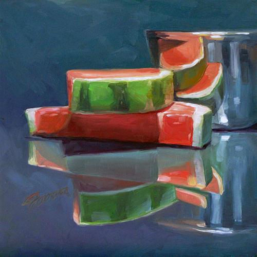"""watermelon reflection"" original fine art by Joanna Bingham"