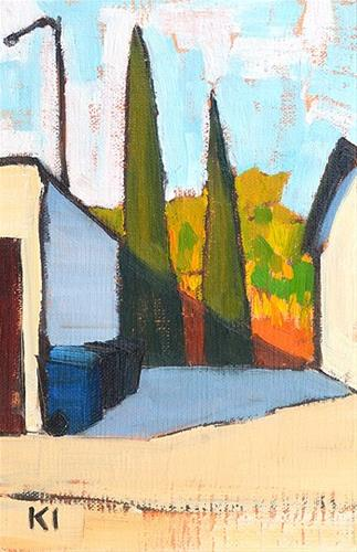 """Cypresses in the Alley, San Diego"" original fine art by Kevin Inman"