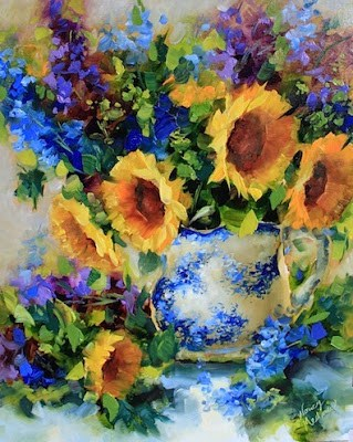 """Garden Breeze Sunflowers and Delphiniums"" original fine art by Nancy Medina"