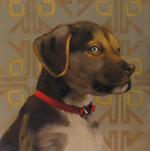"""Tyson oil painting of dog on pattern"" original fine art by Diane Hoeptner"