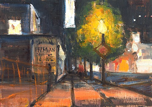 """Little Italy Nocturne"" original fine art by Kevin Inman"