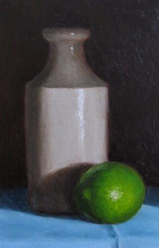 """Milk Bottle & Lime"" original fine art by Michelle Garro"