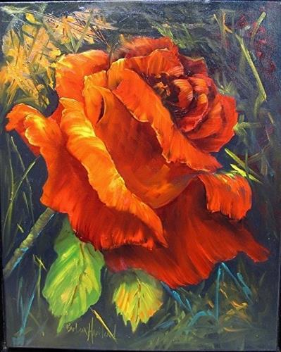 """Rose Red  oil painting"" original fine art by Barbara Haviland"