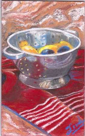 """Strainer with fruit"" original fine art by Susan Craik"