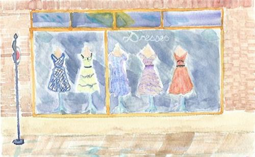 """Dress Shop Bus Stop"" original fine art by Laura Denning"