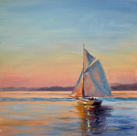 """Sailing at Sunset"" original fine art by Jamie Williams Grossman"