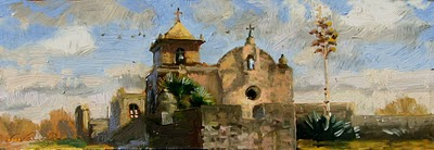 """El Presidio La Bahia"" original fine art by V.... Vaughan"