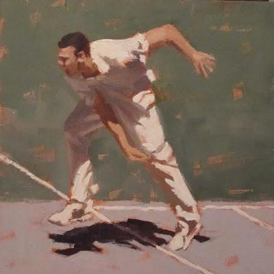 """BOWLER 2 - Cricket at the MCG"" original fine art by Helen Cooper"