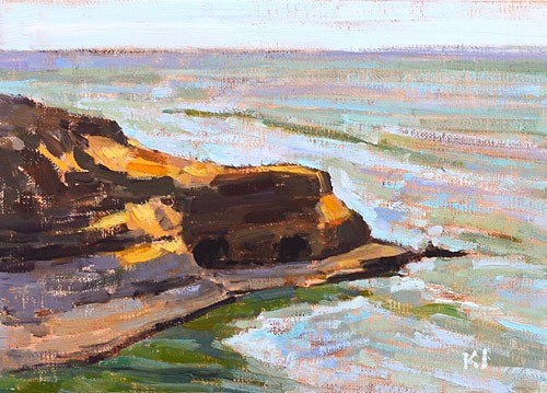 """Sunset Cliffs Plein Air, San Diego, CA"" original fine art by Kevin Inman"