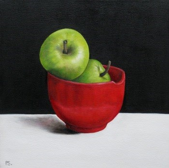 """Green Apples on black & white"" original fine art by Pera Schillings"