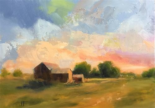 """Barns in the Evening"" original fine art by Jean Fitzgerald"