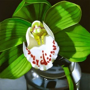 """Little Orchid 4x4"" original fine art by M Collier"