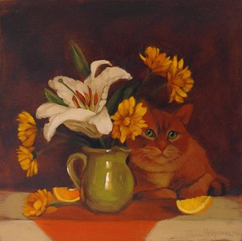 """Orange Medley with Cat"" original fine art by Diane Hoeptner"