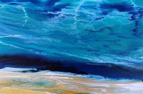 """Contemporary Beach Art, Abstract Seascape Painting, Coastal Art Beautiful Storm III by Internation"" original fine art by Kimberly Conrad"