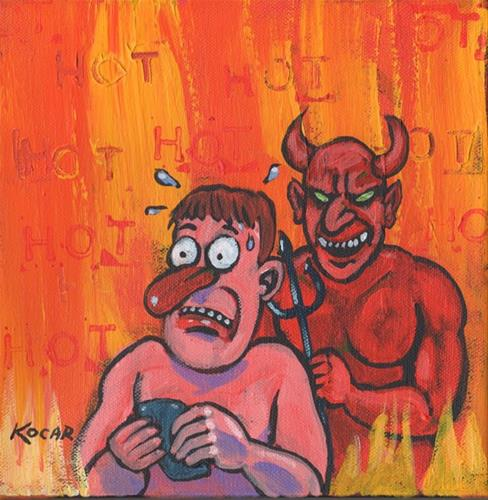 """Texting in Hell"" original fine art by George Kocar"
