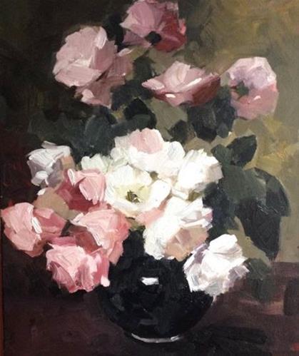 """""""roses in a vintage vase"""" original fine art by Parastoo Ganjei"""