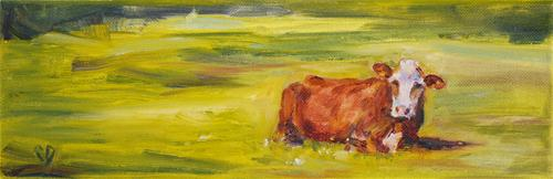 """Bovine R & R"" original fine art by Carol DeMumbrum"