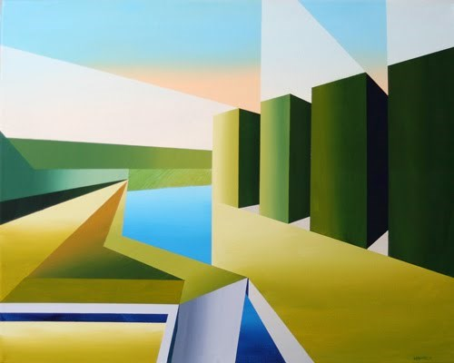 """Mark Webster - The Cubist Creek Abstract Acrylic Painting"" original fine art by Mark Webster"