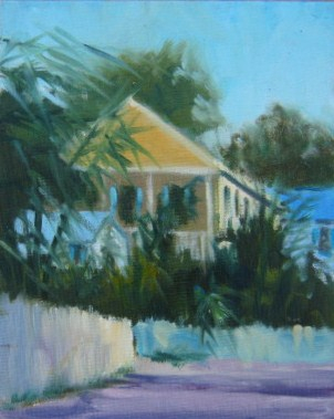 """Key West Yellow House"" original fine art by Connie Snipes"