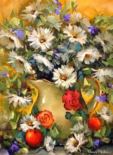 """Daisy Tango by Floral Artist Nancy Medina"" original fine art by Nancy Medina"
